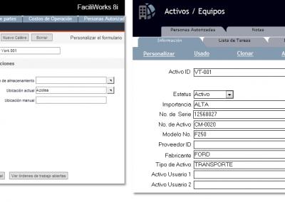 FaciliWorks CMMS - Ingreso de Activos